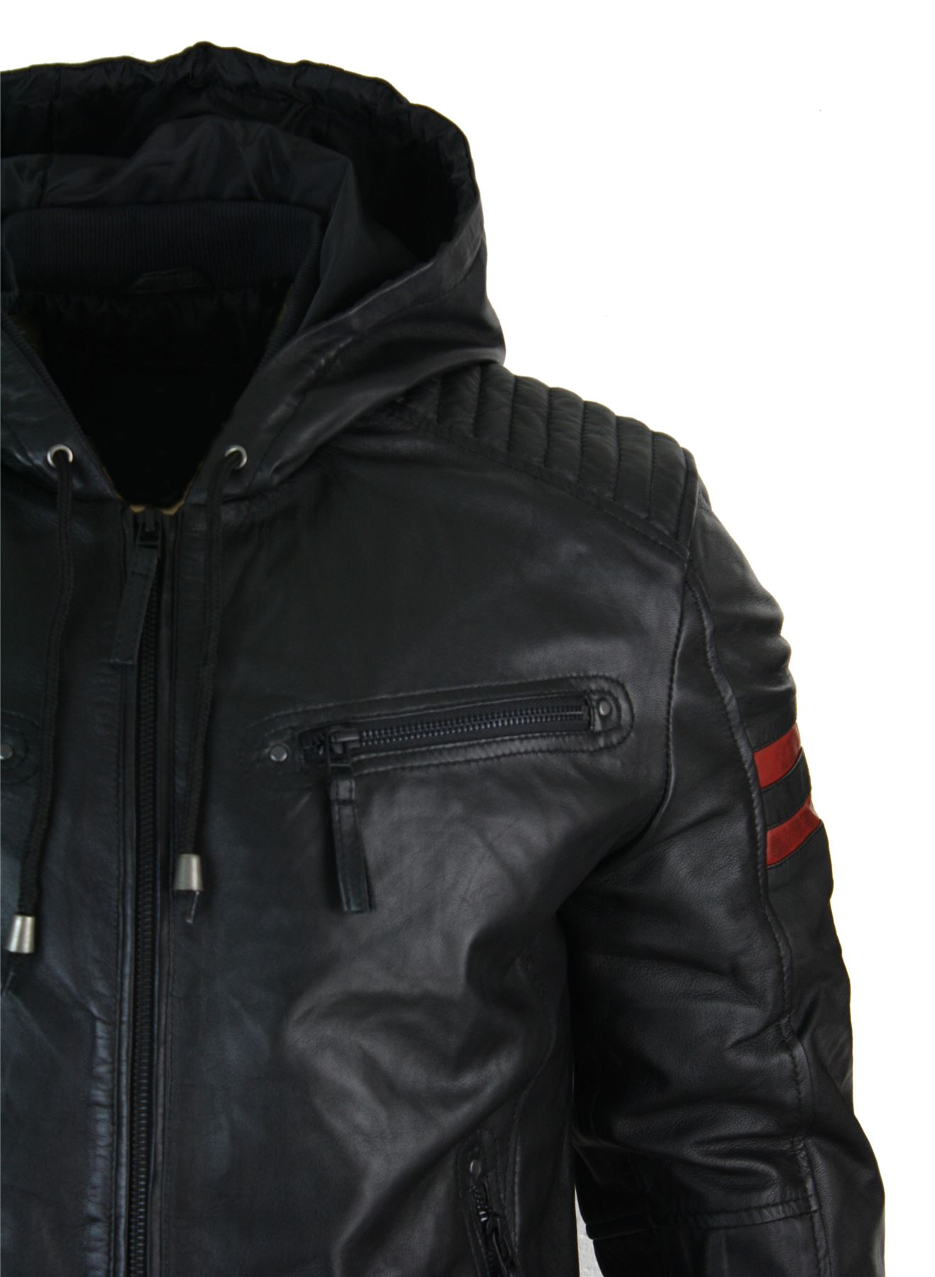 Mens-Black-Hood-Real-Leather-Bomber-Jacket-Red-Stripes-Quilted-Slim-Fit-Casual miniature 5
