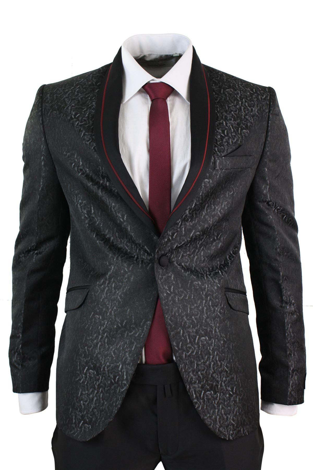 Costume homme smoking noir bordeaux violet veste et pantalon coupe ... d5e8bde5146