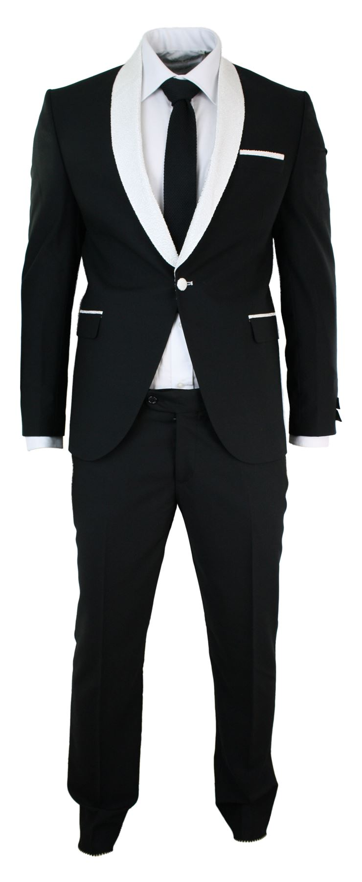 Mens Slim Fit Black White Shawl Paisley Collar Suit Wedding Party ...