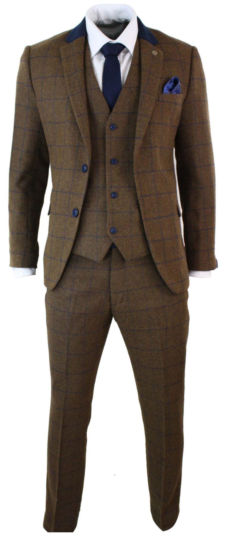 costume 3 pi ces homme tweed marron carreaux bleu marine vintage ajust chic ebay. Black Bedroom Furniture Sets. Home Design Ideas