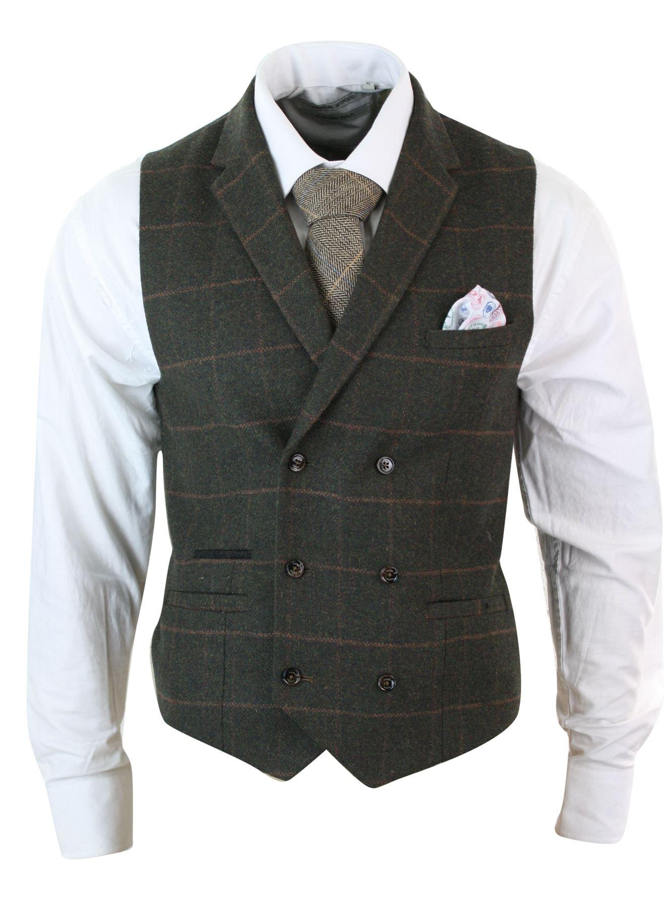 Mens-Double-Breasted-Herringbone-Tweed-Peaky-Blinders-Vintage-Check-Waistcoat miniatuur 16