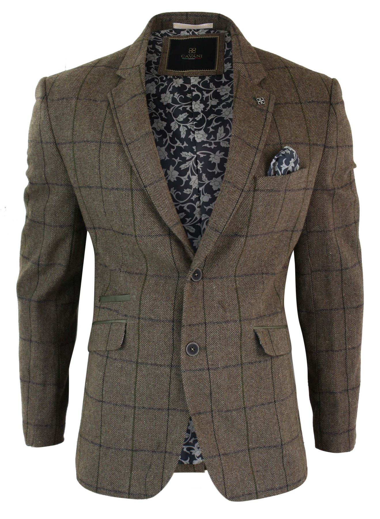 Veste homme tweed chevrons brown vintage carreaux blue marine blazer