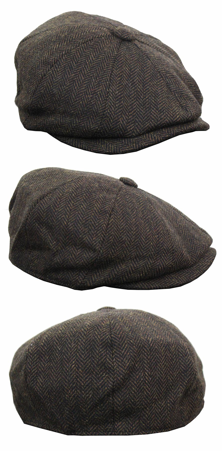 King Ice Casquette en tweed pour homme de style vendeur de journeaux Peaky Blinders grand p/ère carreaux rebord /élastiqu/é