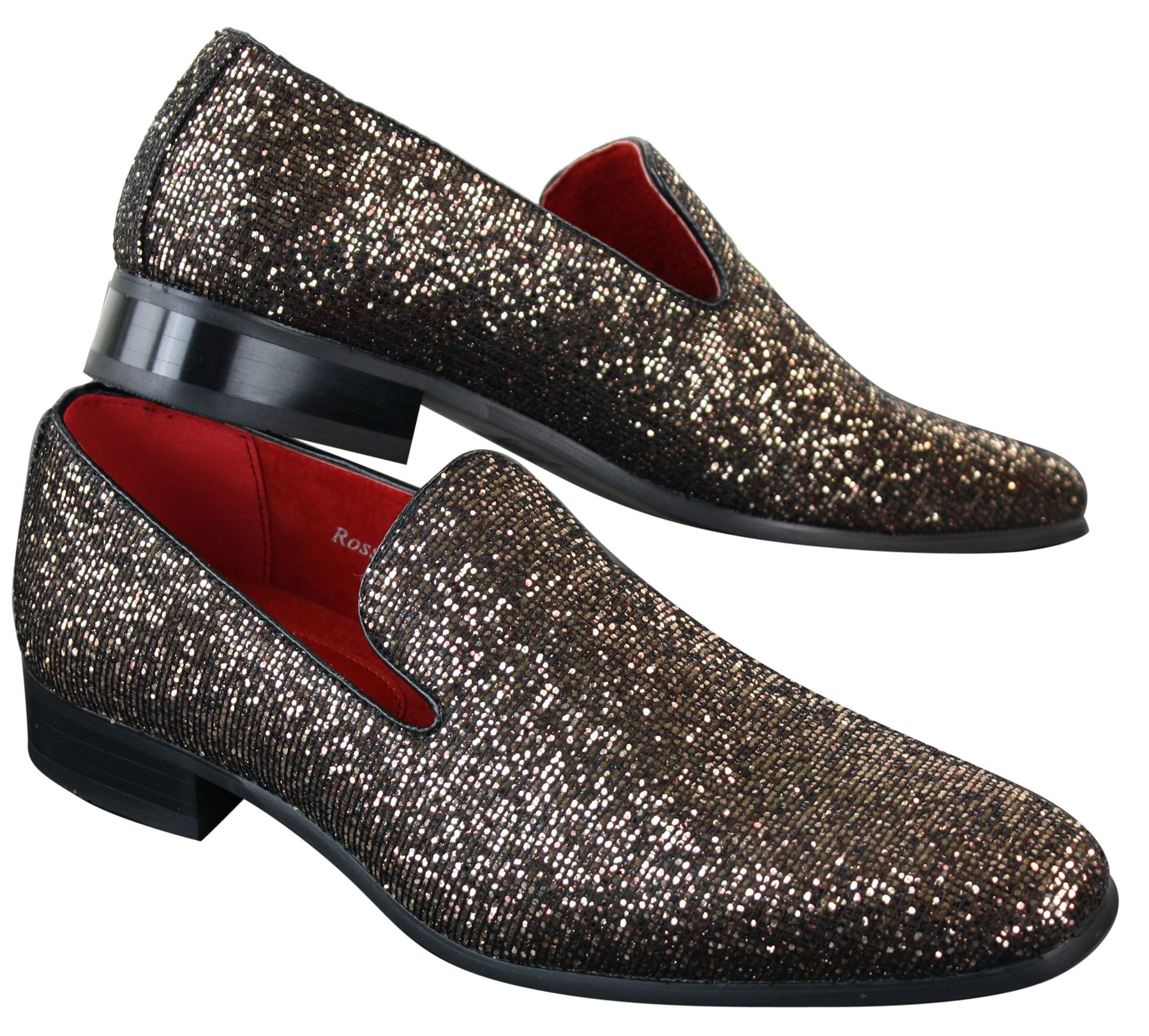 28ffb3a77a9c Mens Shiny Silver Gold Black Slip On Glitter Shoes Party Smart ...