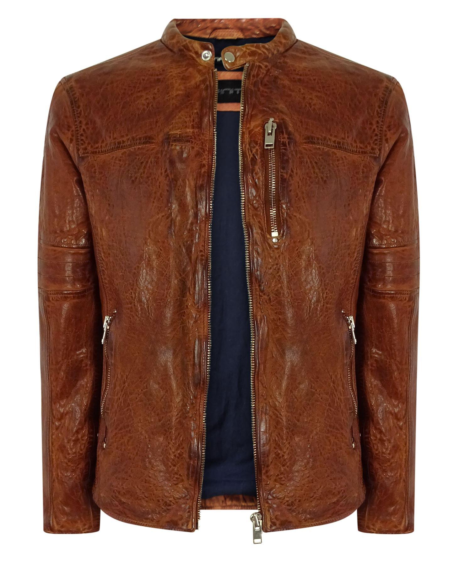29f03877d9e Blouson homme cintré vintage noir marron clair cuir véritable délavé ...