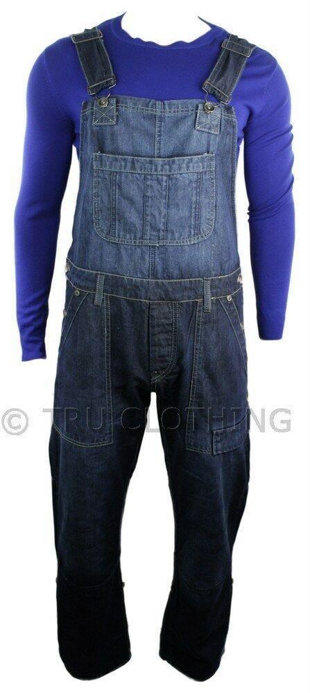 Mens Dungarees Jeans Combat Pockets Navy Dark Blue Turn Up