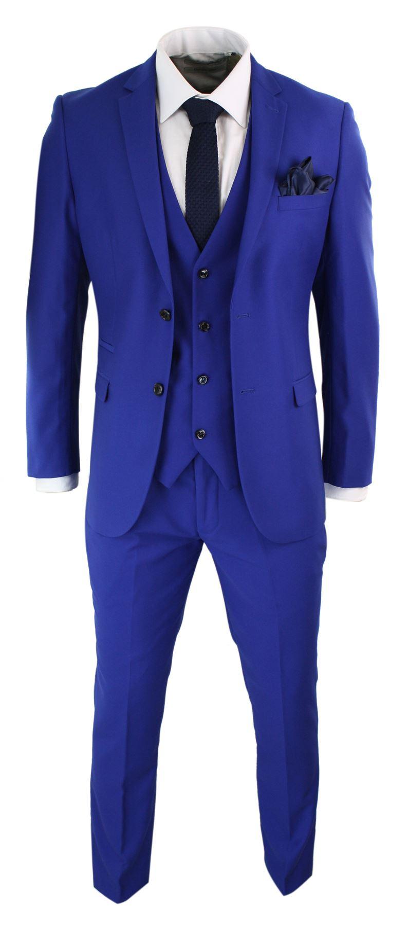 costume 3 pi ces homme bleu roi coupe ajust e chic. Black Bedroom Furniture Sets. Home Design Ideas