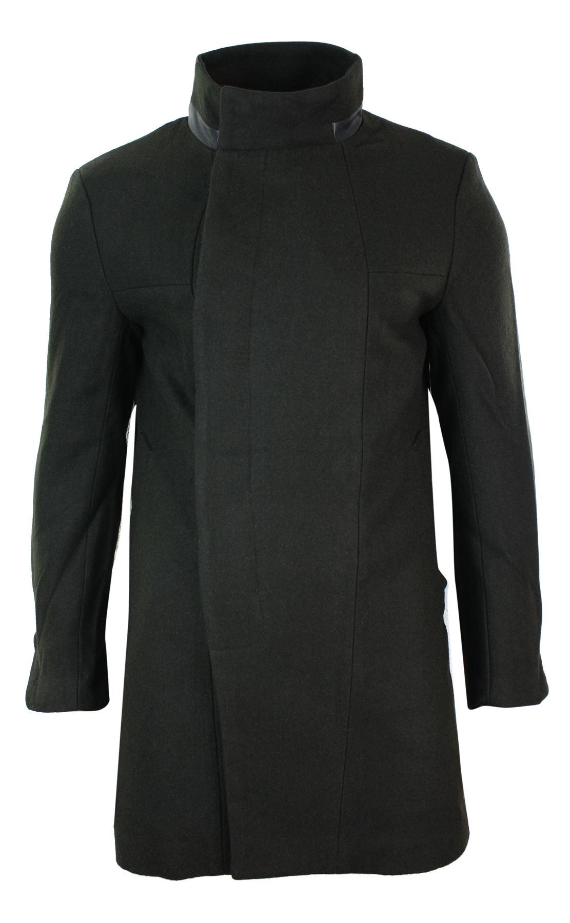 Veste Noir Manteau Cintrée Homme Mao Fermeture Olive 34 Khaki Col 5qwaU