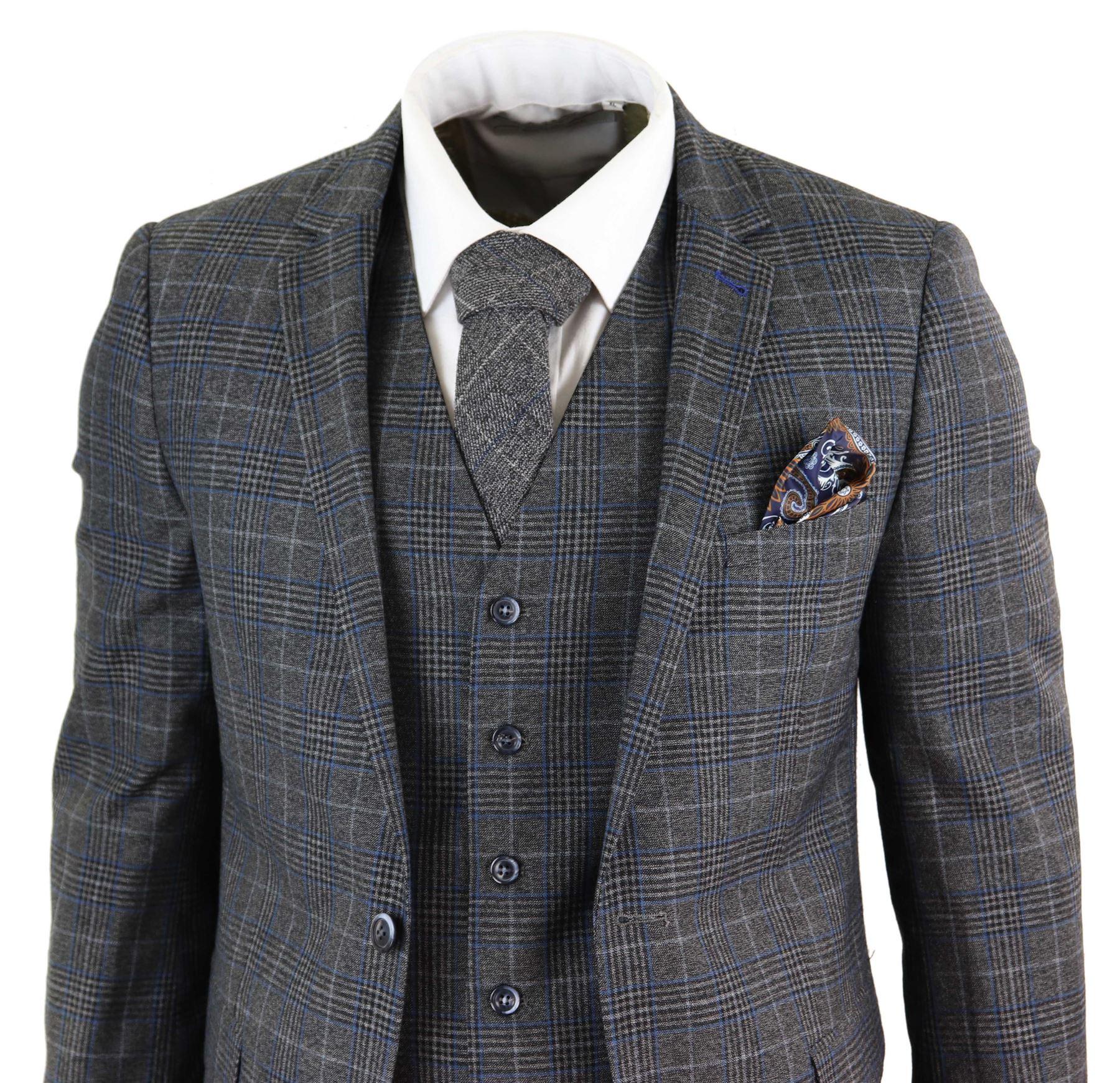 191ea3fcc5778 Details about 3 piece suit mens grey herringbone check blue retro slim fit-  show original title