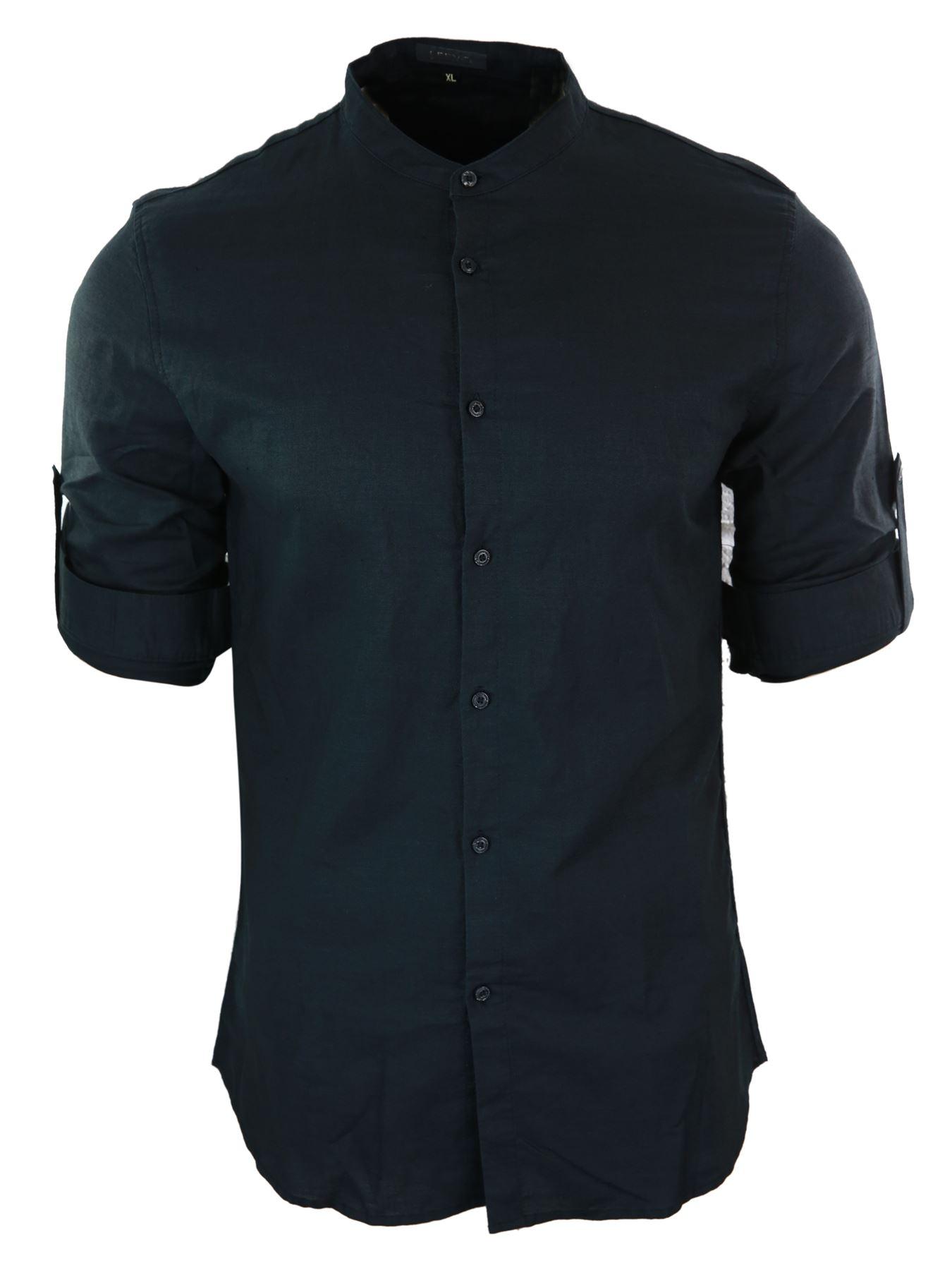 chemise homme col rond style indien en lin coupe slim manches longues a rouler ebay. Black Bedroom Furniture Sets. Home Design Ideas