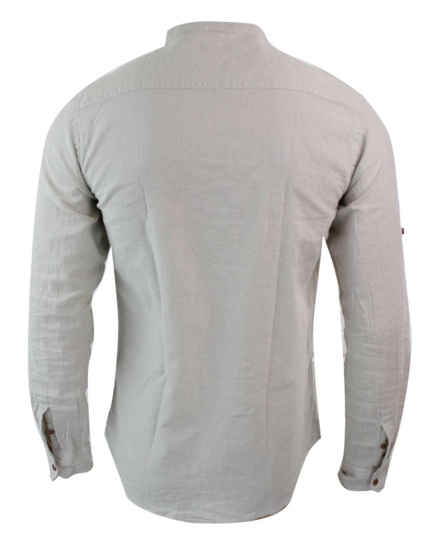 chemise l g re sans col homme en lin pour plage vacances d contract tendance ebay. Black Bedroom Furniture Sets. Home Design Ideas