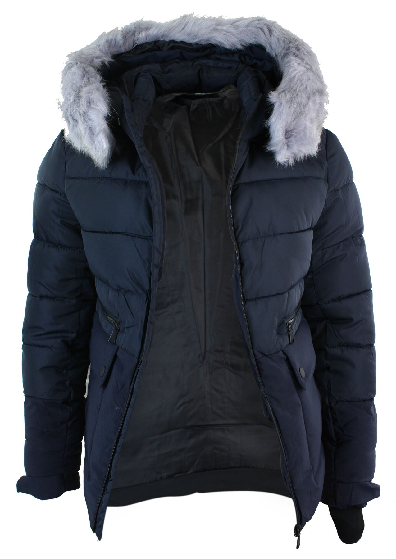 Mens Faux Fur Hood Puffer Quilted Jacket Slim Fit Navy Black ... : mens navy quilted coat - Adamdwight.com