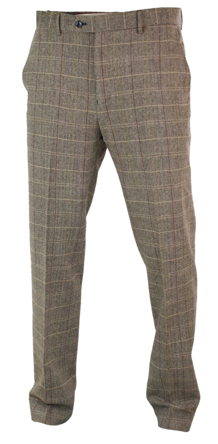 Mens-Herringbone-Tweed-Check-Peaky-Blinders-Trousers-Wool-Vintage-Classic-Retro thumbnail 8