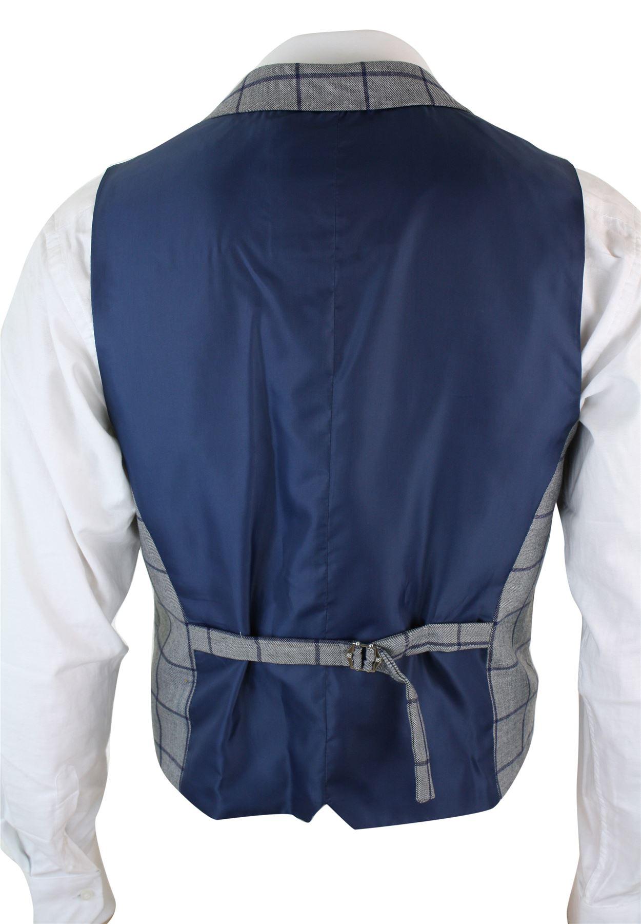 Mens-Double-Breasted-Herringbone-Tweed-Peaky-Blinders-Vintage-Check-Waistcoat miniatuur 5