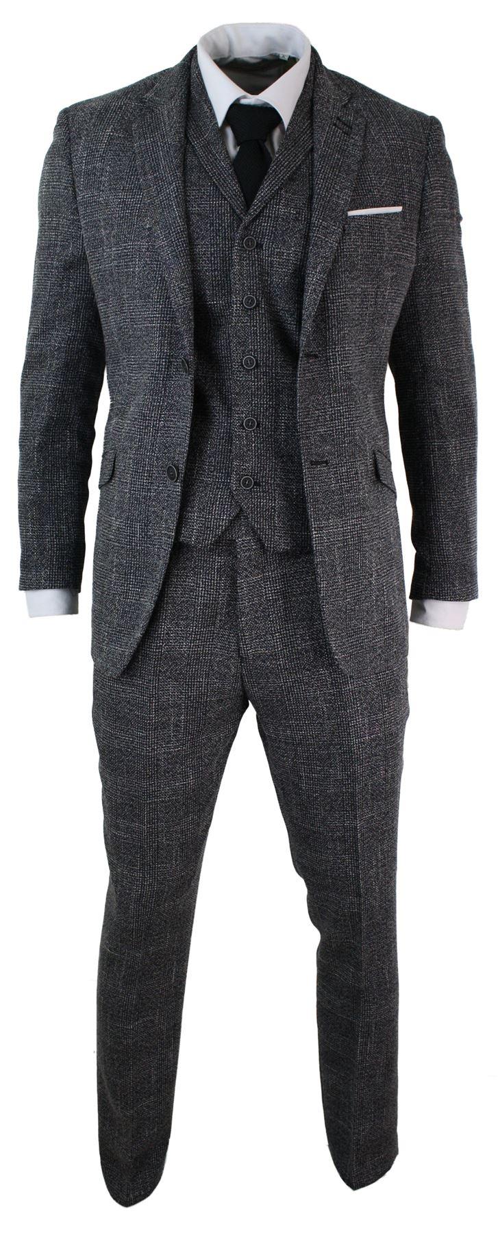 costume 3 pi ces homme tweed chevrons gris noir coupe ceintr e vintage r tro ebay. Black Bedroom Furniture Sets. Home Design Ideas