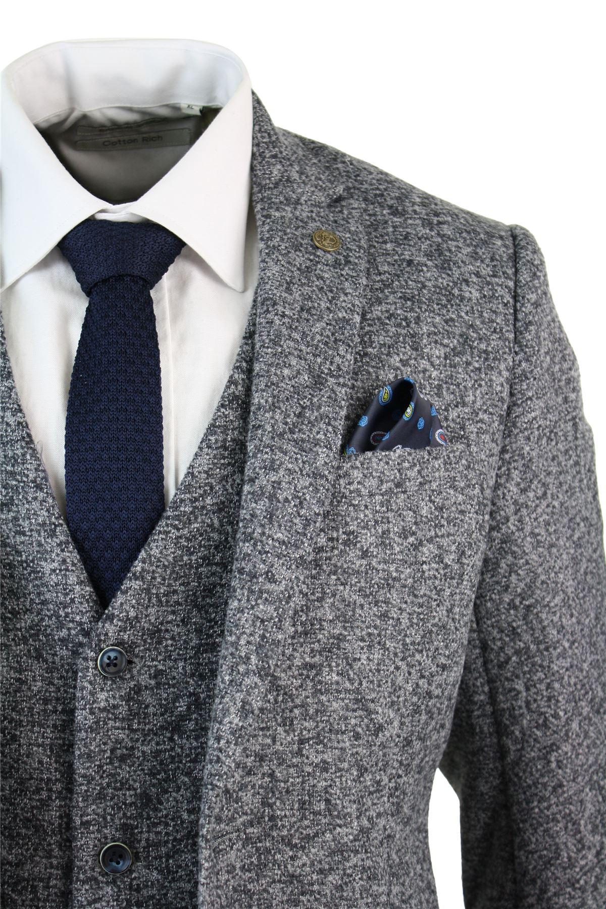7b1ada379bc2 Mens Grey Blue Herringbone Tweed Slim Fit Chunky Waistcoat Blazer ...