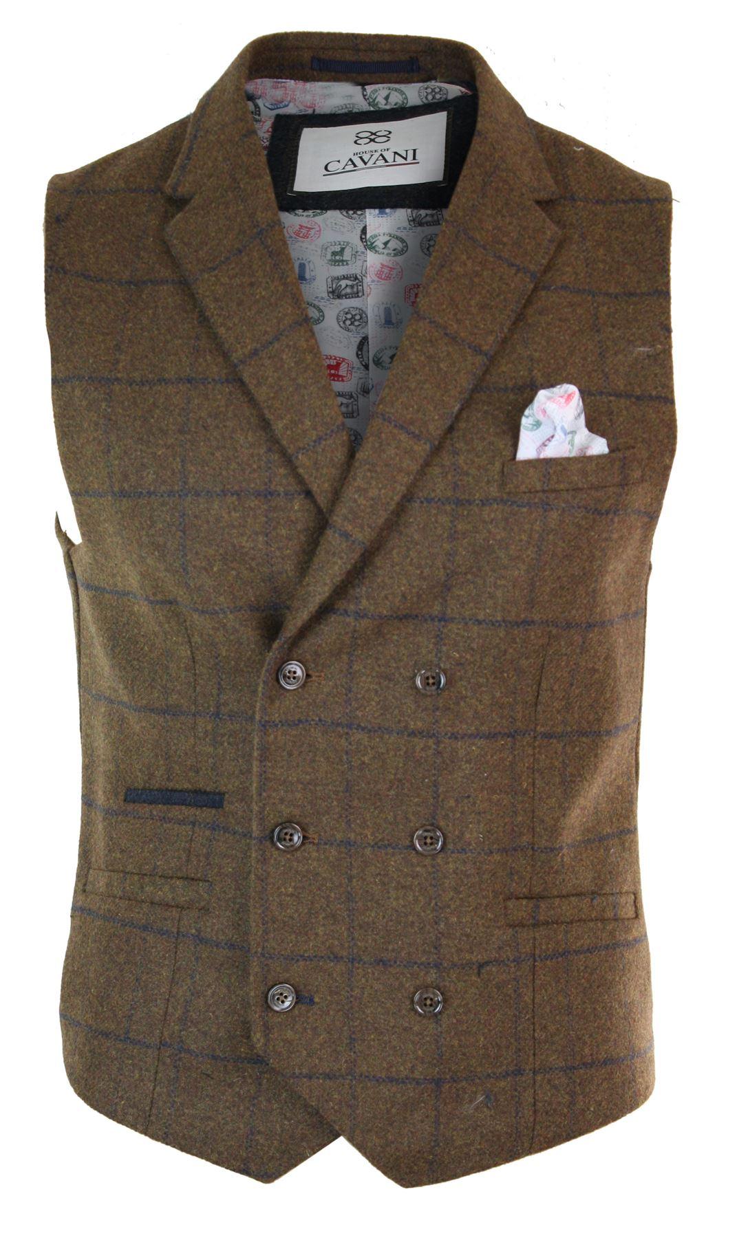 Mens-Double-Breasted-Herringbone-Tweed-Peaky-Blinders-Vintage-Check-Waistcoat miniatuur 23