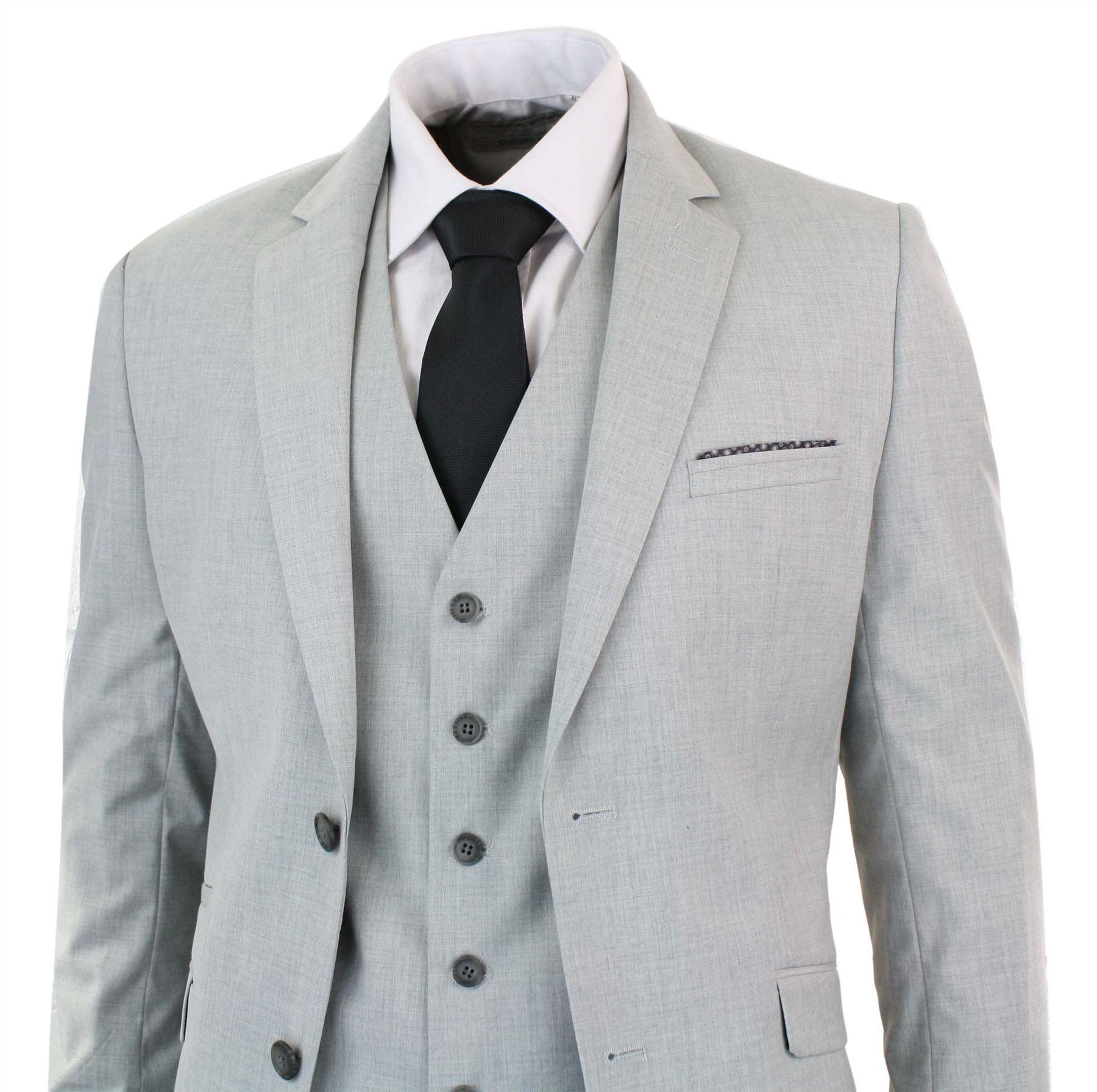 Costume 3 pi ces homme gris clair ajust veste gilet pantalon vendus s paremment ebay - Costume homme gris clair ...