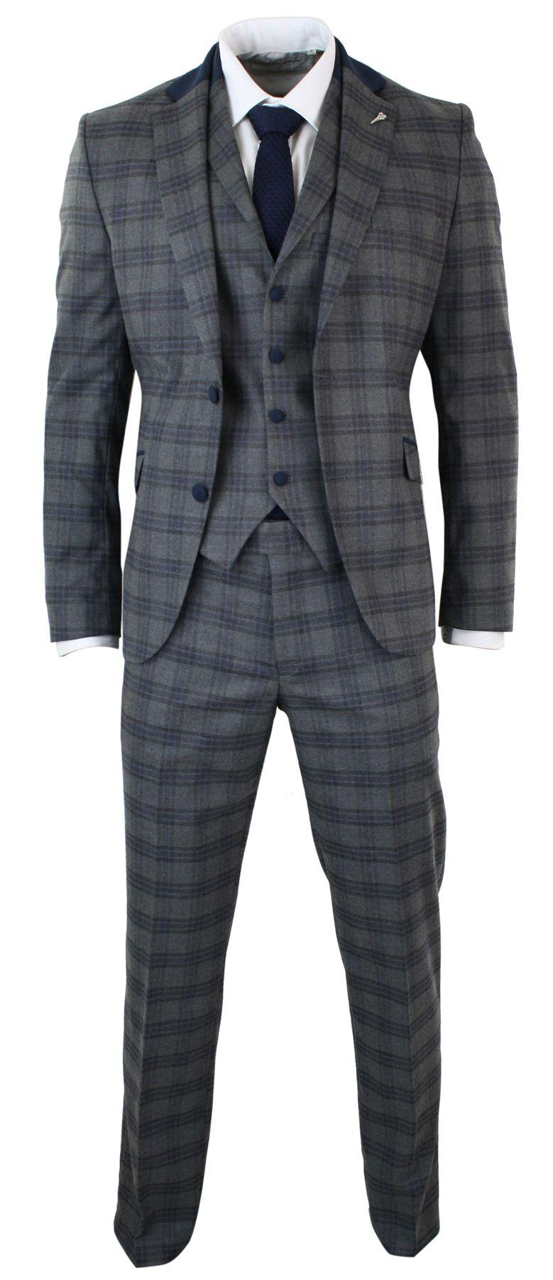 costume tweed gris homme 3 pi ces carreaux bleu marine. Black Bedroom Furniture Sets. Home Design Ideas