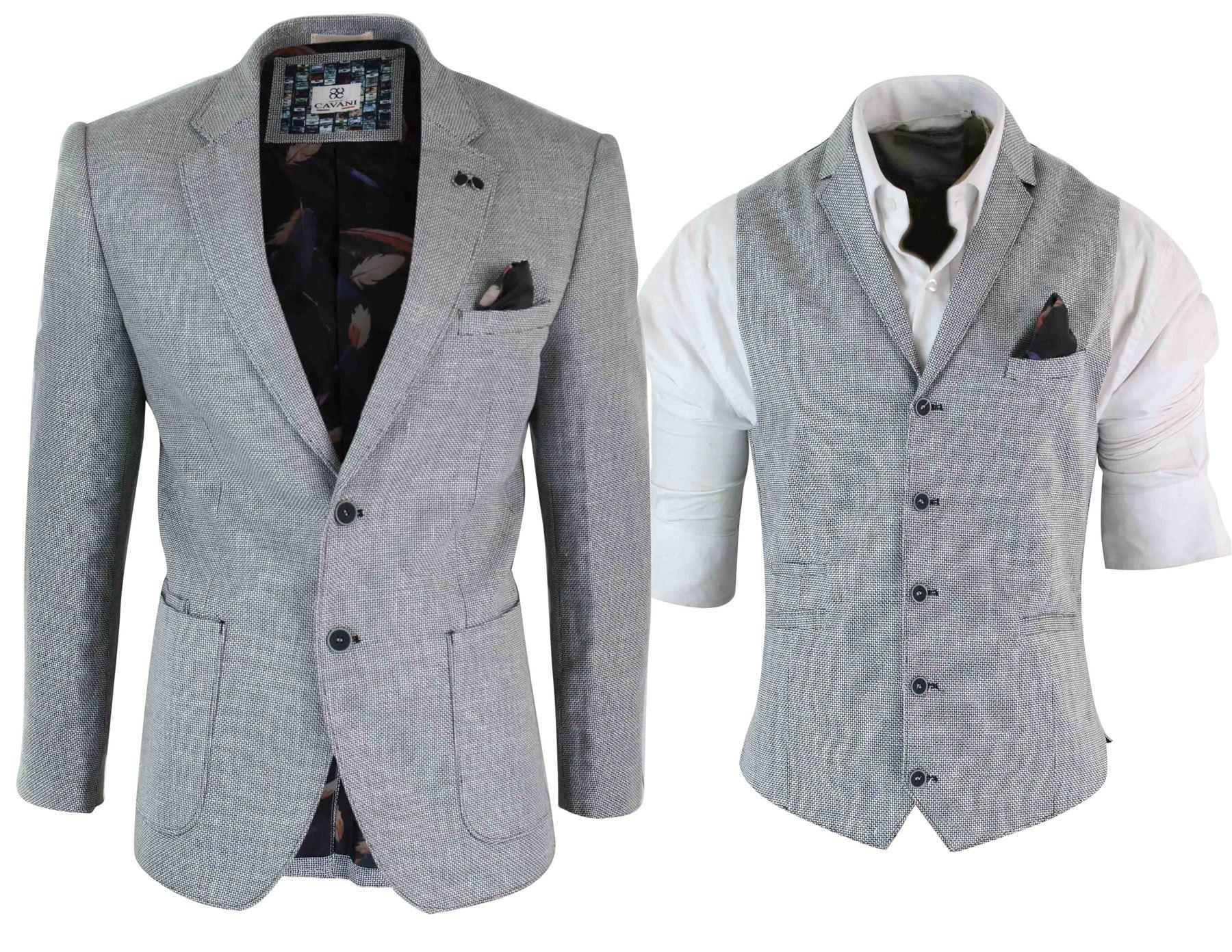 Gilet o Giacca Blazer da Uomo in Misto Cotone Stile Elegante Slim Fit