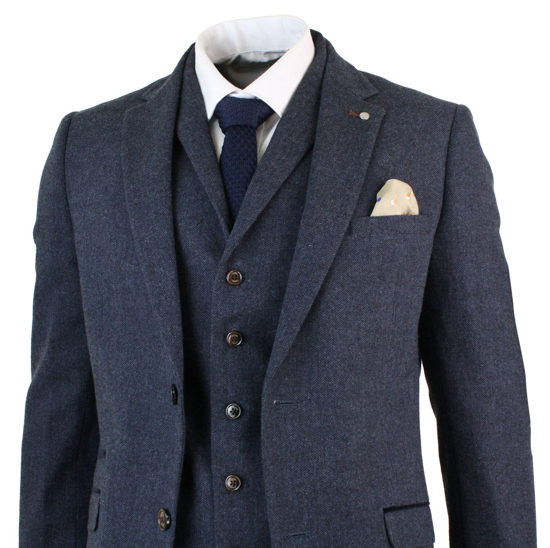Fabuleux Costume 3 pièces homme tweed à chevrons laine mélangée bleu marron  HS23
