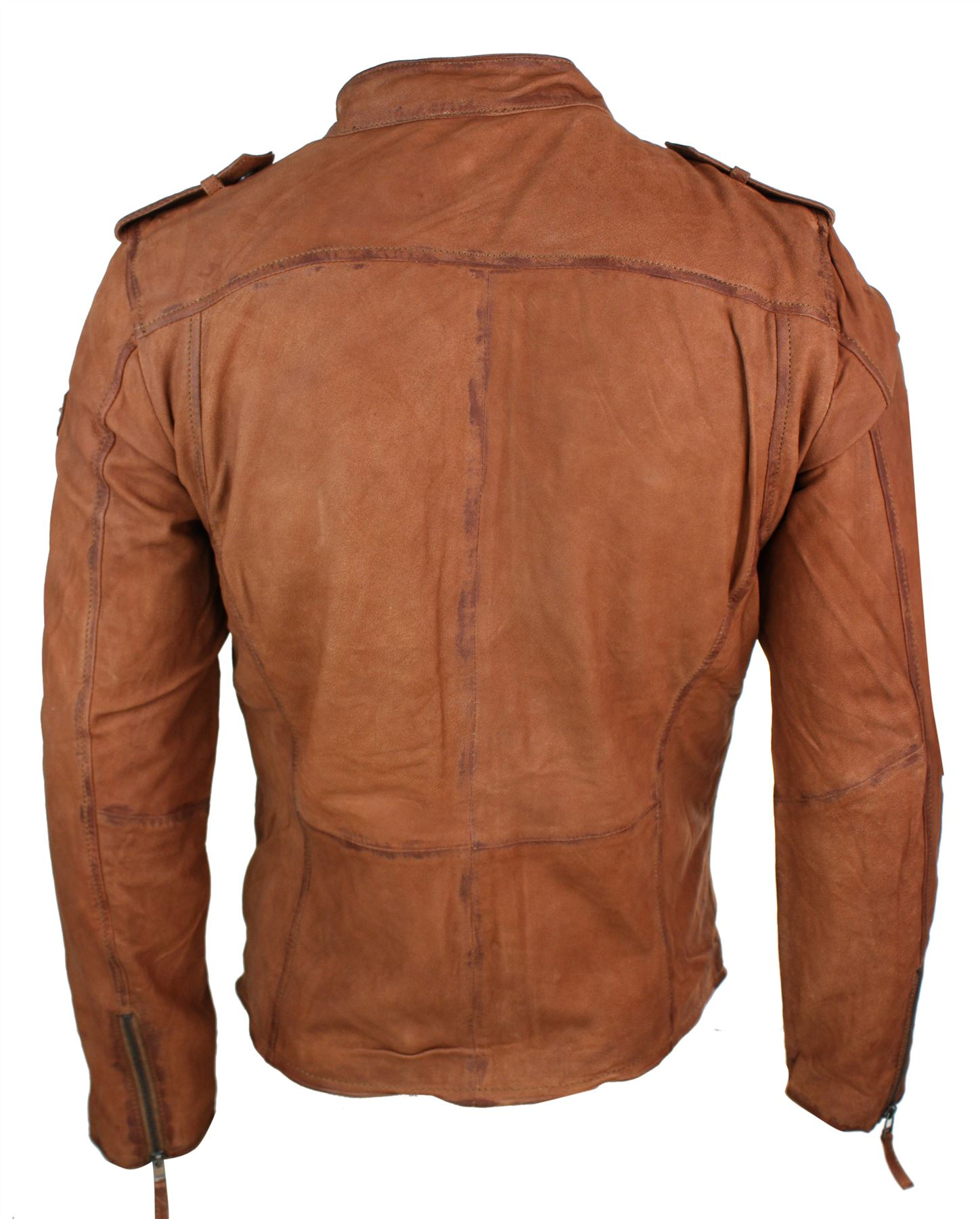 48a4f828bf3 Veste motard zippée cintrée cuir véritable délavé vintage ...