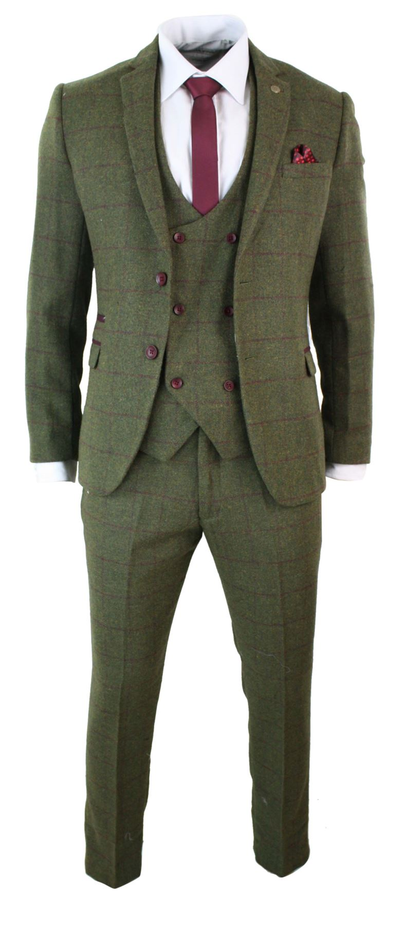 costume 3 pi ces homme tweed carreaux vert olive et bordeaux ajust ebay. Black Bedroom Furniture Sets. Home Design Ideas