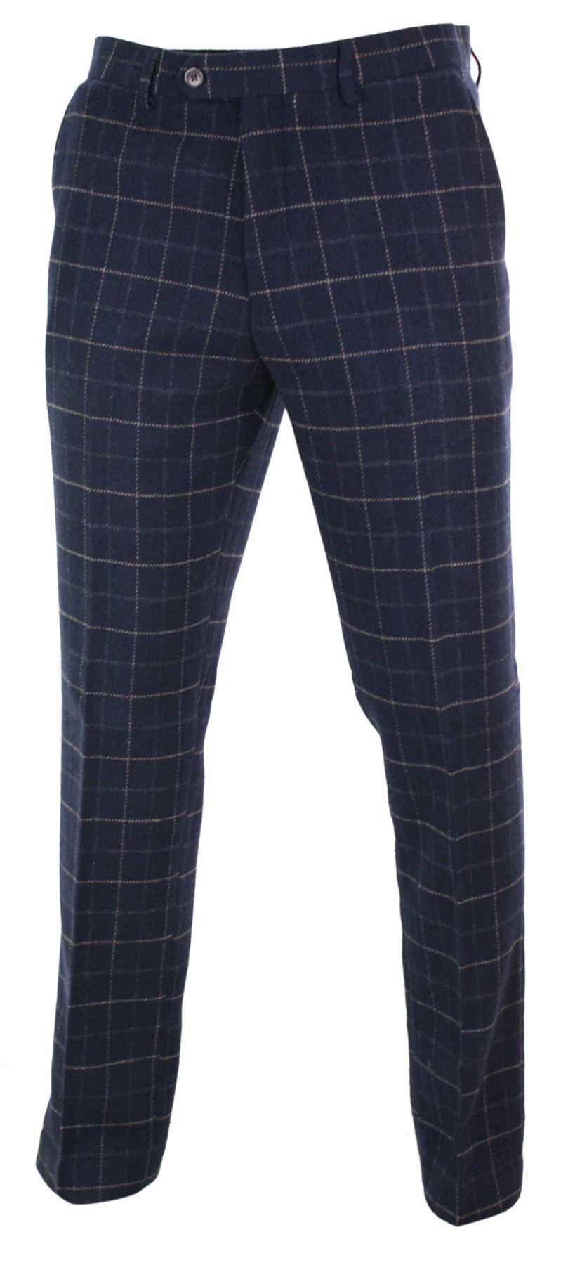 Mens-Herringbone-Tweed-Check-Peaky-Blinders-Trousers-Wool-Vintage-Classic-Retro thumbnail 16