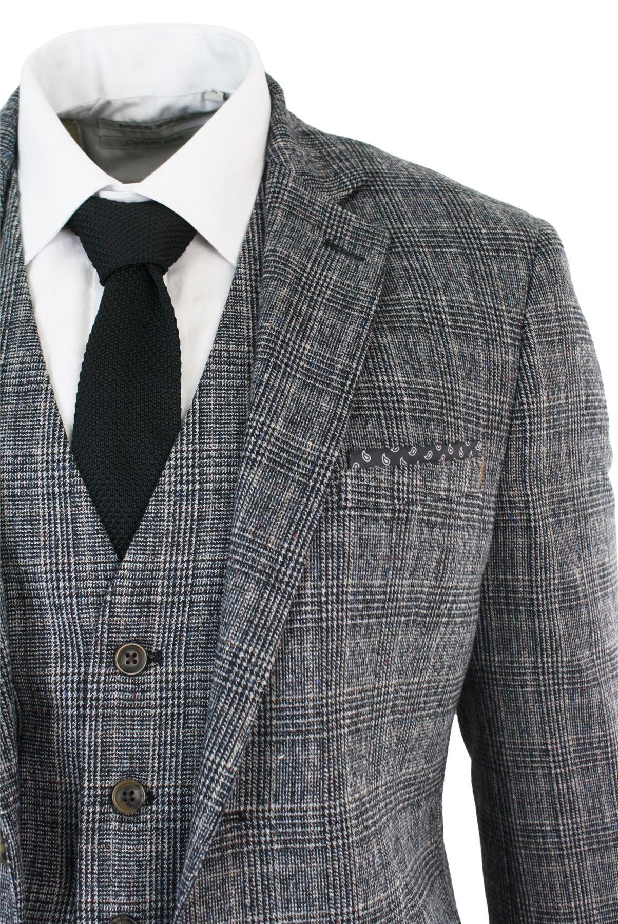 Mens Check Grey Black Vintage Retro Wedding Party Prom Suit 3 Piece ...