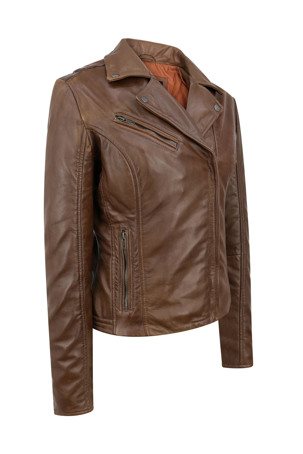 Blouson-femme-cuir-Napa-veritable-fermeture-zip-diagonale-ajuste miniature 3