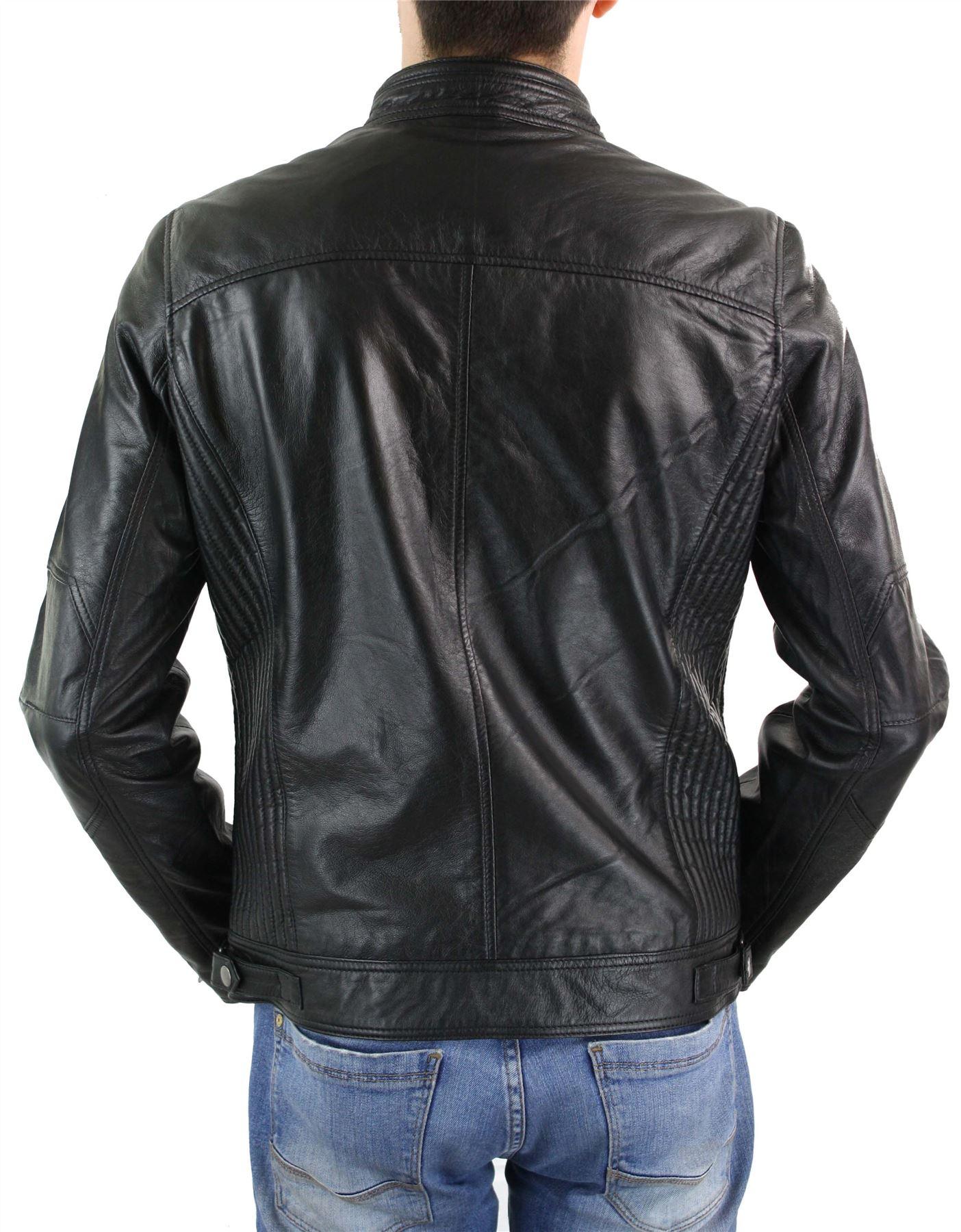 8c5409f1882a2 Blouson zippé homme cuir véritable style biker chic décontracté noir ...