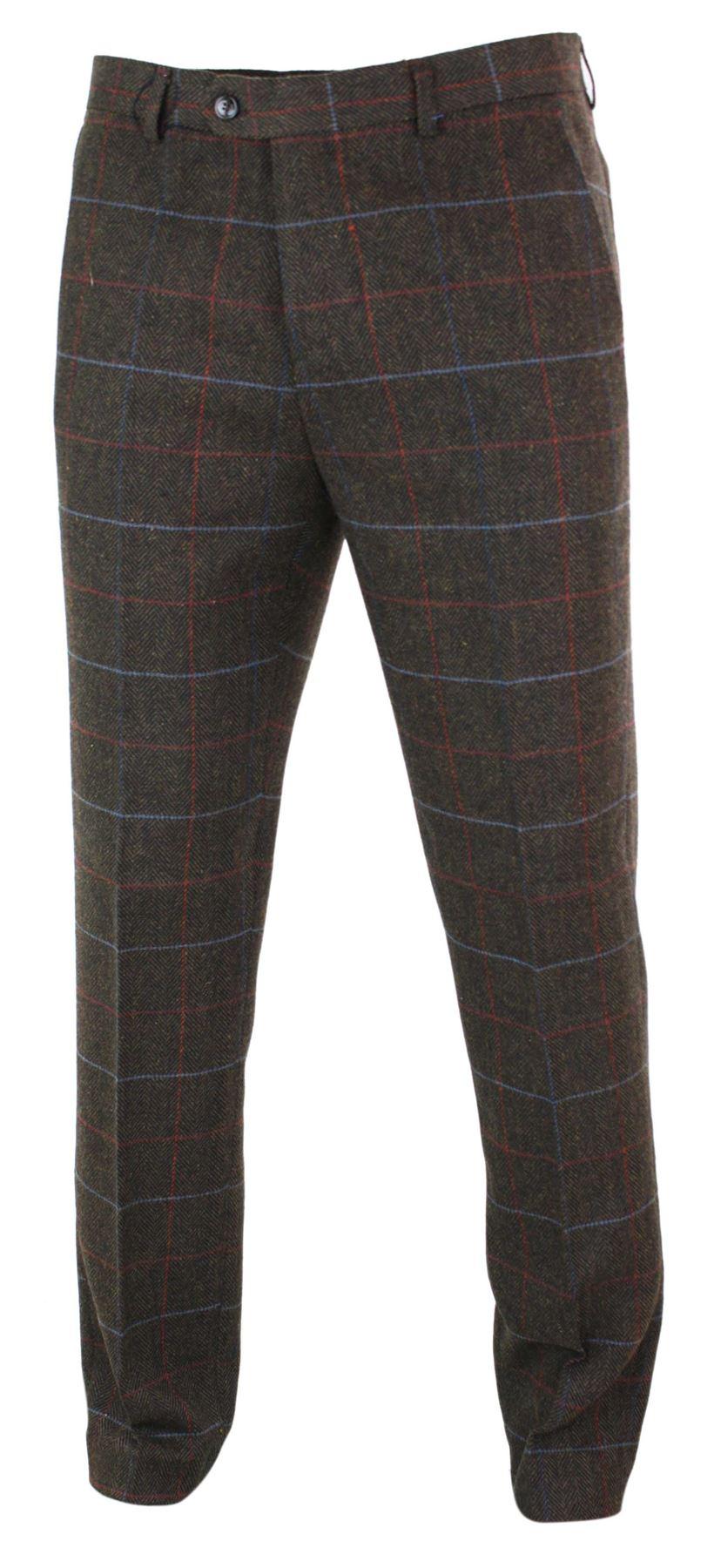 Mens-Herringbone-Tweed-Check-Peaky-Blinders-Trousers-Wool-Vintage-Classic-Retro thumbnail 20
