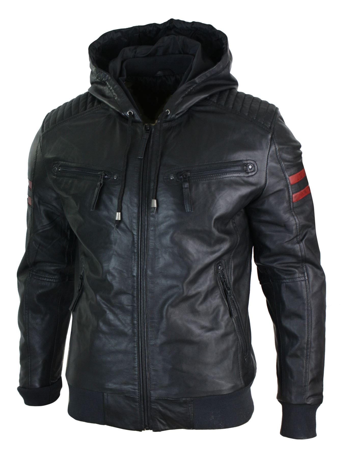 Mens-Black-Hood-Real-Leather-Bomber-Jacket-Red-Stripes-Quilted-Slim-Fit-Casual miniature 4