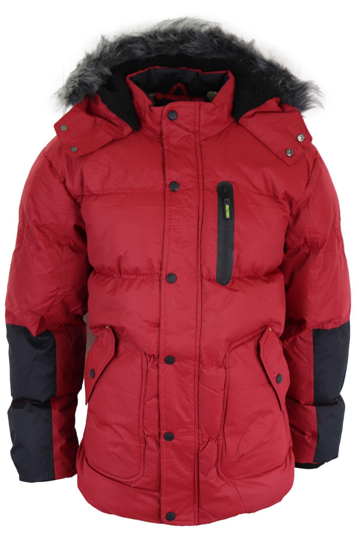 bas prix 8eaee b650e Détails sur Doudoune homme manteau matelassé parka rouge gris chaud capuche  fourrée