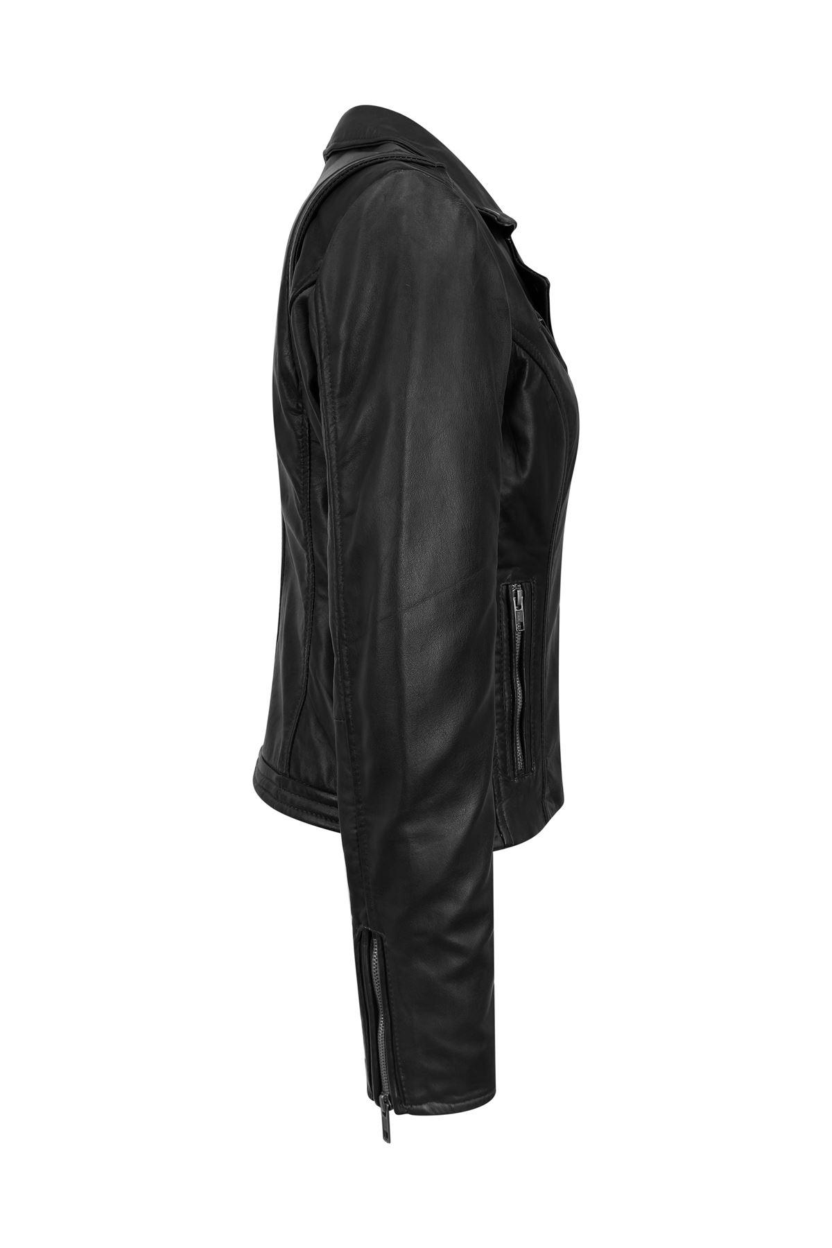 Blouson-femme-cuir-Napa-veritable-fermeture-zip-diagonale-ajuste miniature 8
