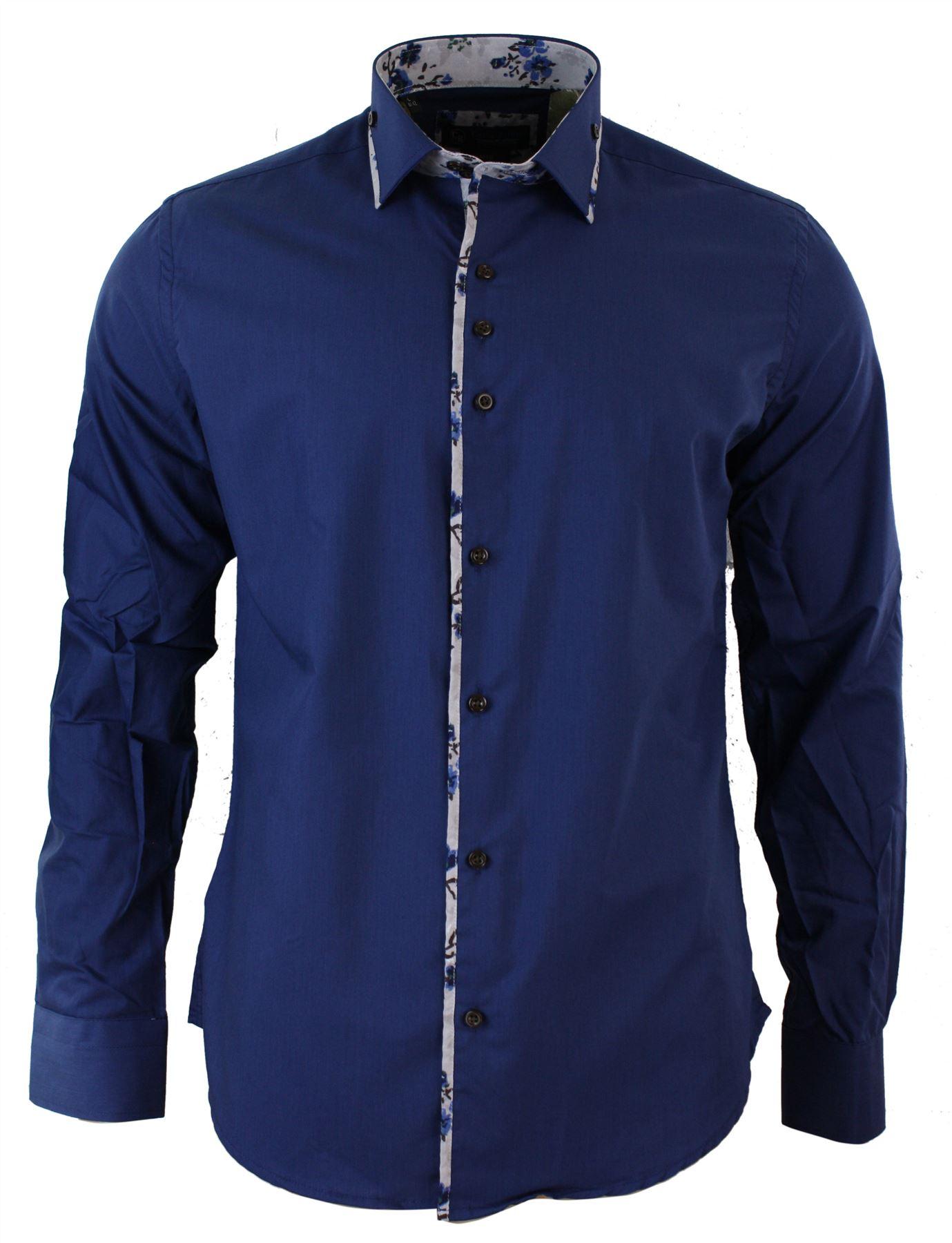Mens slim fit designer italian button collar shirt paisley for Turkey mens designer shirts