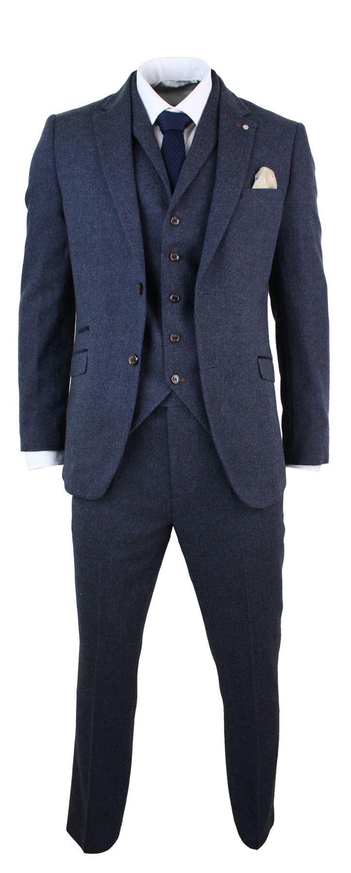63df81257fa Details about Mens 3 Piece Wool Blend Herringbone Tweed Suit Blue Brown  Vintage Tailored Fit