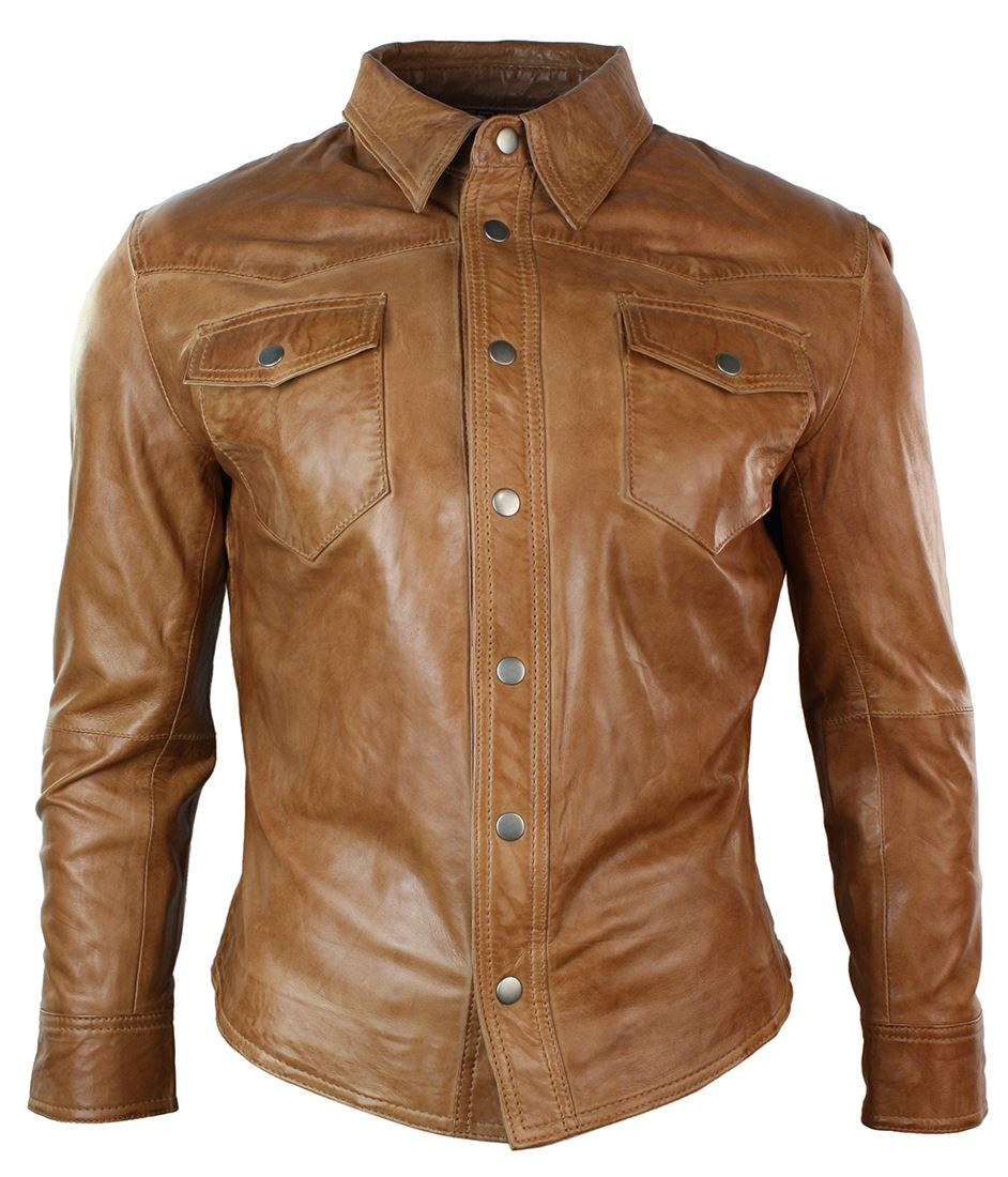 Mens real leather shirt jacket tan brown black slim fit for Black brown mens shirts