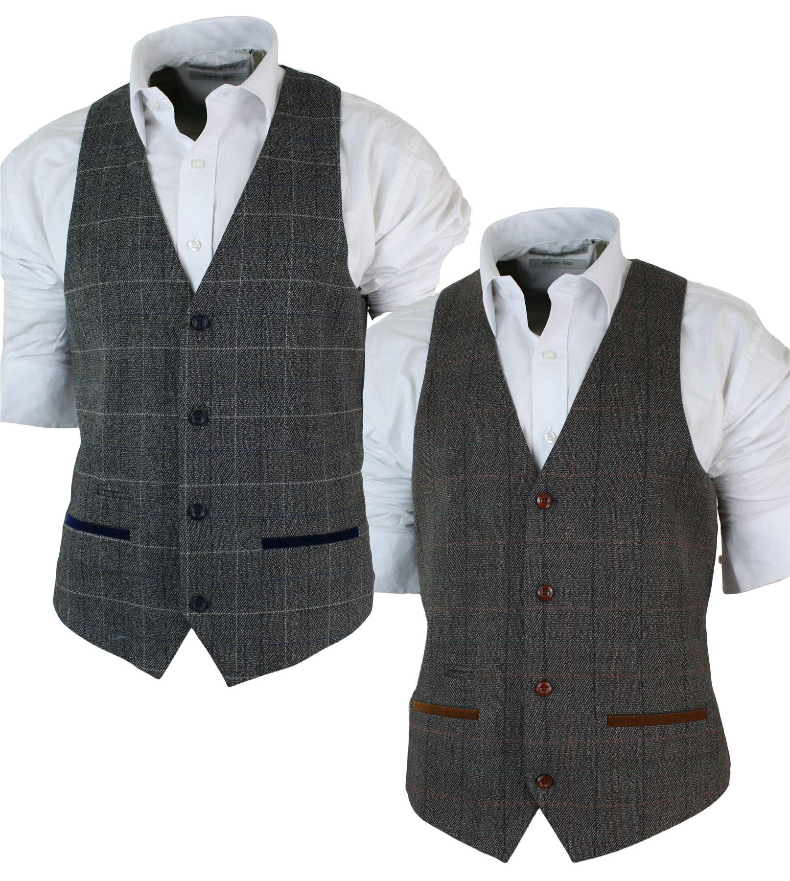Vino Gilet Aderente a Doppio Petto Da Uomo Tweed Classico Nero Nocciola o Blu