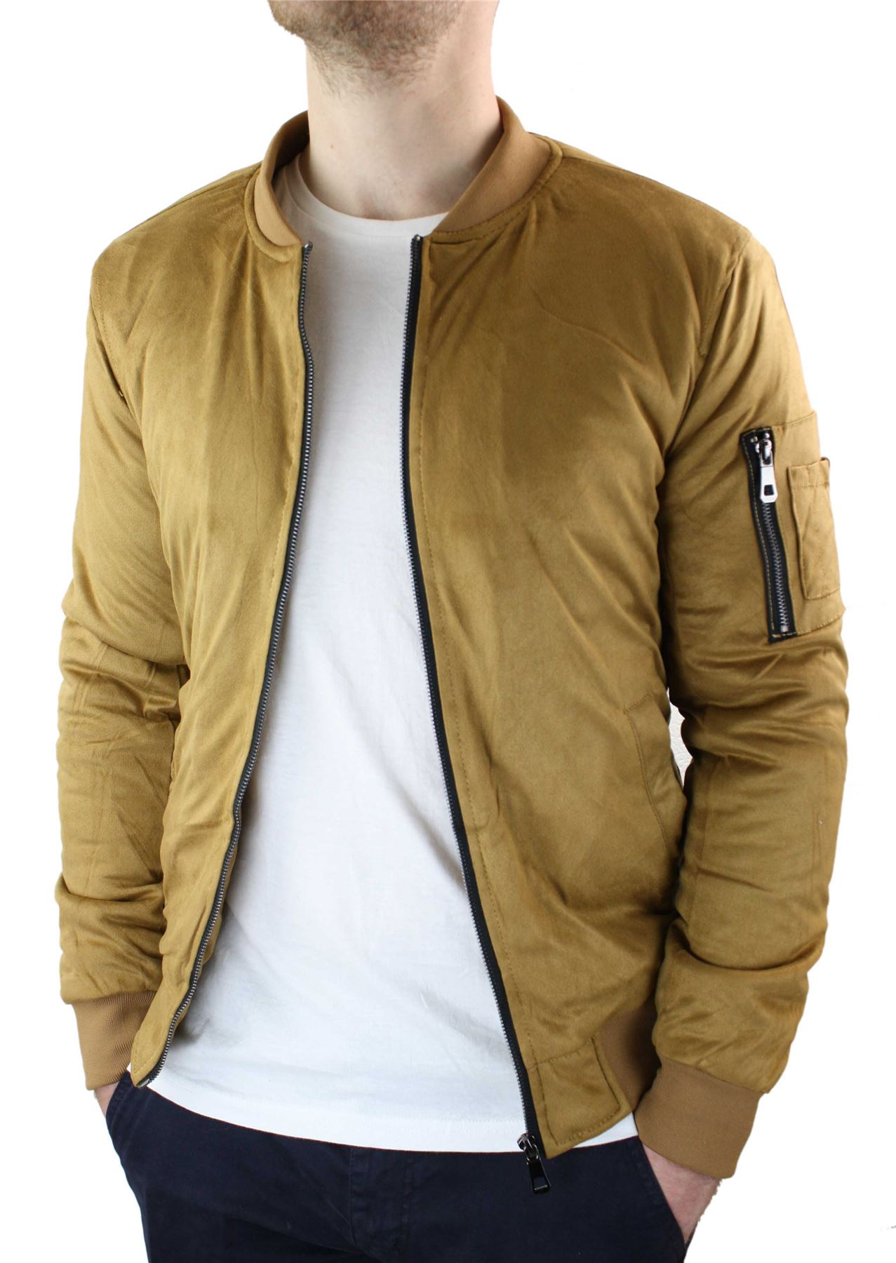 Mens MA1 PU Suede Bomber Varsity Jacket Quilted Winter Warm Harrington Coat
