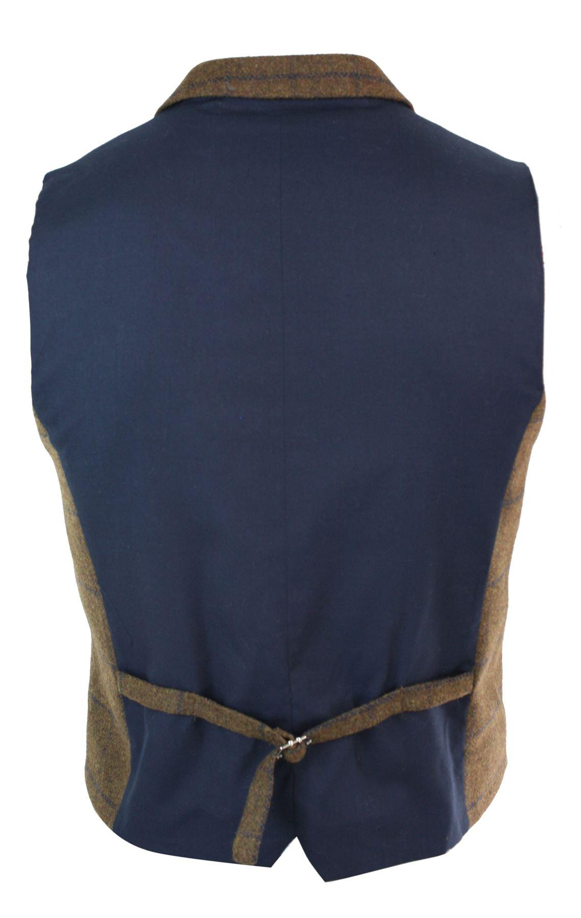 Mens-Double-Breasted-Herringbone-Tweed-Peaky-Blinders-Vintage-Check-Waistcoat miniatuur 22