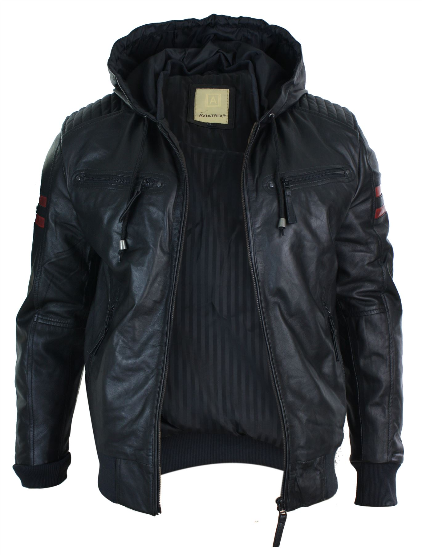 Mens-Black-Hood-Real-Leather-Bomber-Jacket-Red-Stripes-Quilted-Slim-Fit-Casual miniature 3