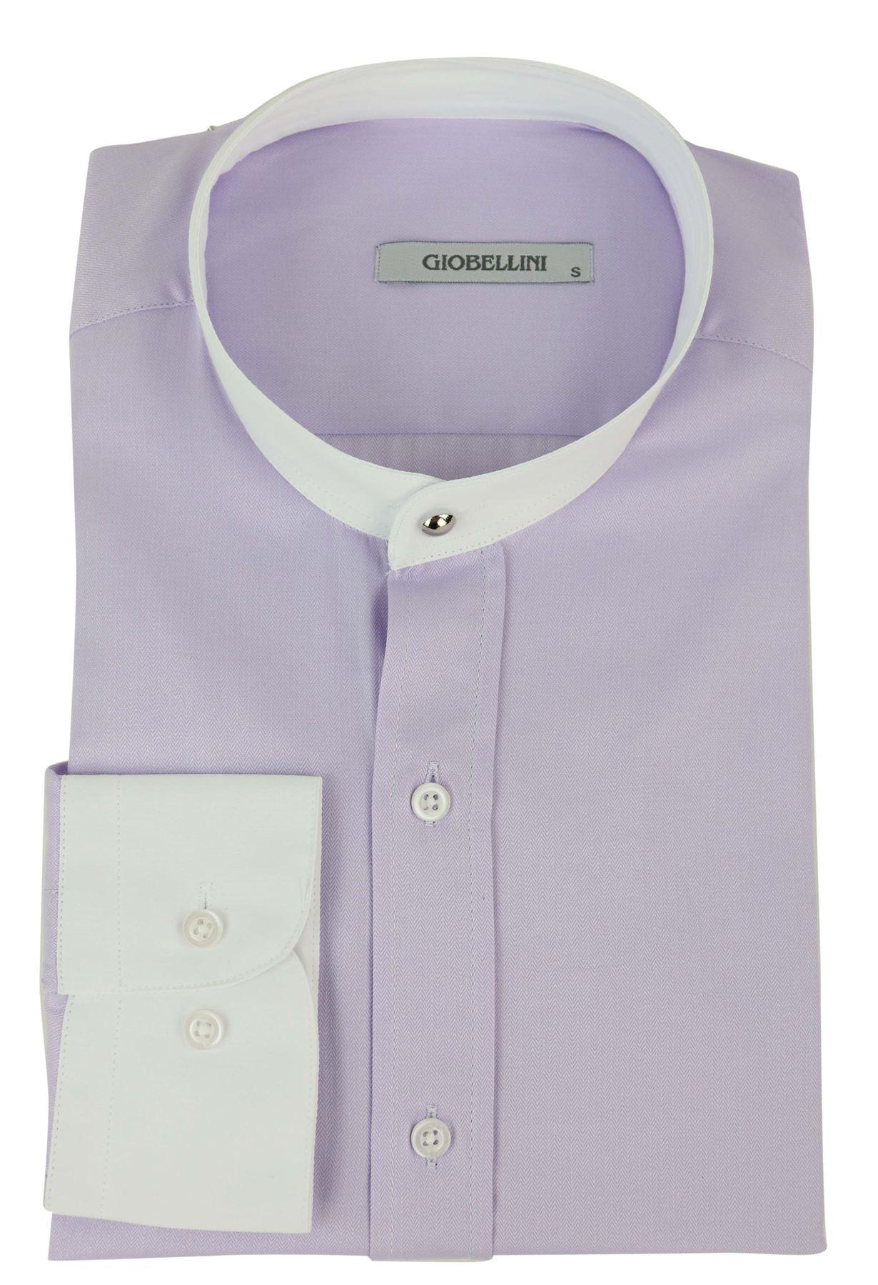 037b2684ca Mens Peaky Blinders Herringbone Shirt Detachable Collar Penny Button ...