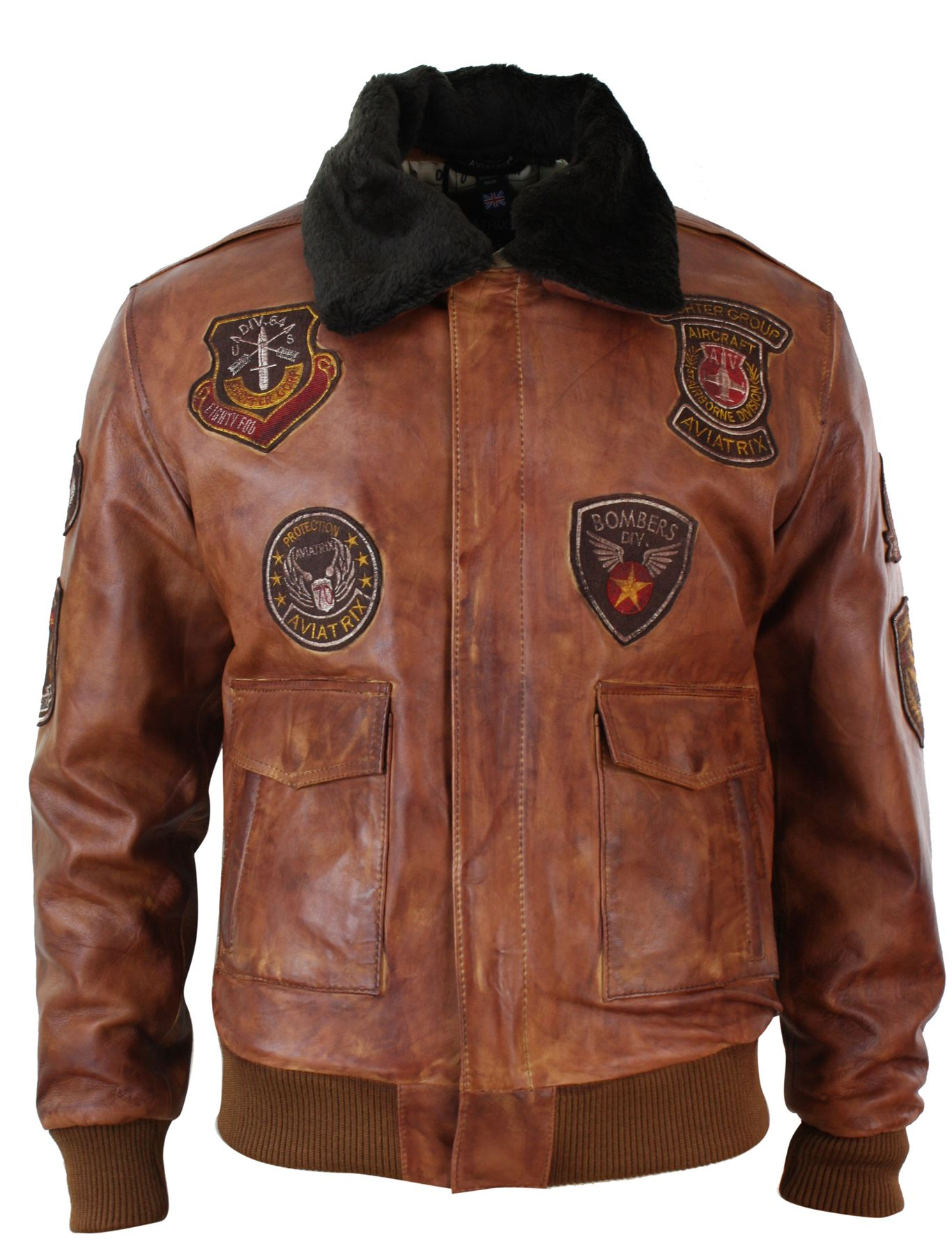 blouson homme aviateur bomber pilote style vintage cuir vieilli marron clair ebay. Black Bedroom Furniture Sets. Home Design Ideas