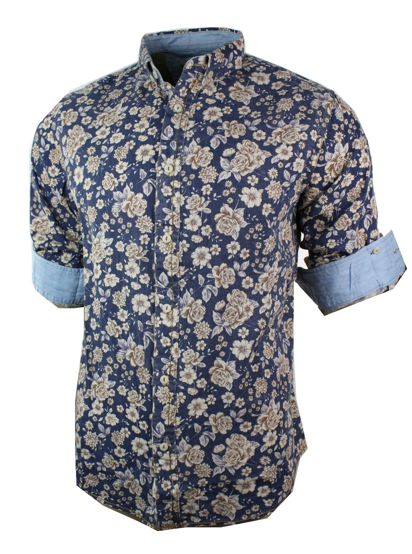 Mens fitted floral cotton button light weight summer shirt for Fitted button up shirts mens