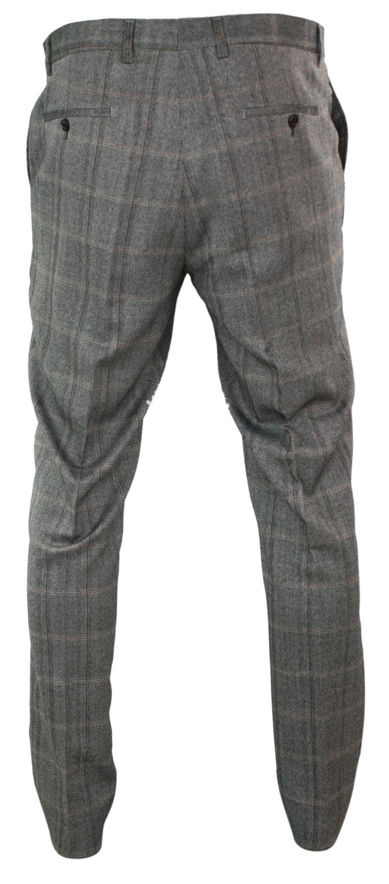 Mens-Herringbone-Tweed-Check-Peaky-Blinders-Trousers-Wool-Vintage-Classic-Retro thumbnail 13