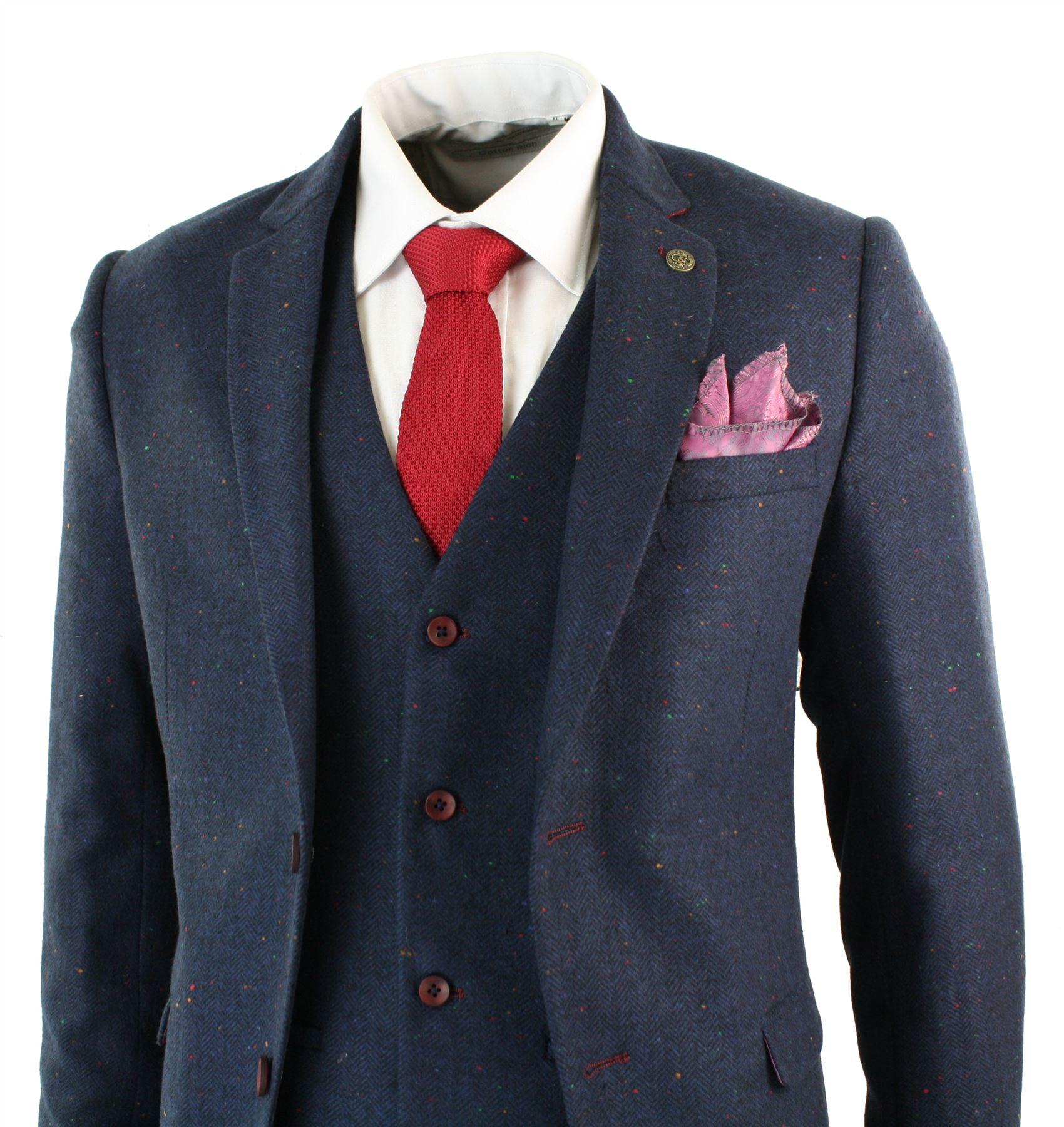 Herrenanzug 3 Teilig Marc Darcy Blau Tweed Fischgräte Design Retro Vintage