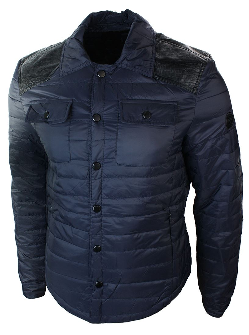 Mens Quilted Mid Length Blue Black Slim Fit Light Puffer