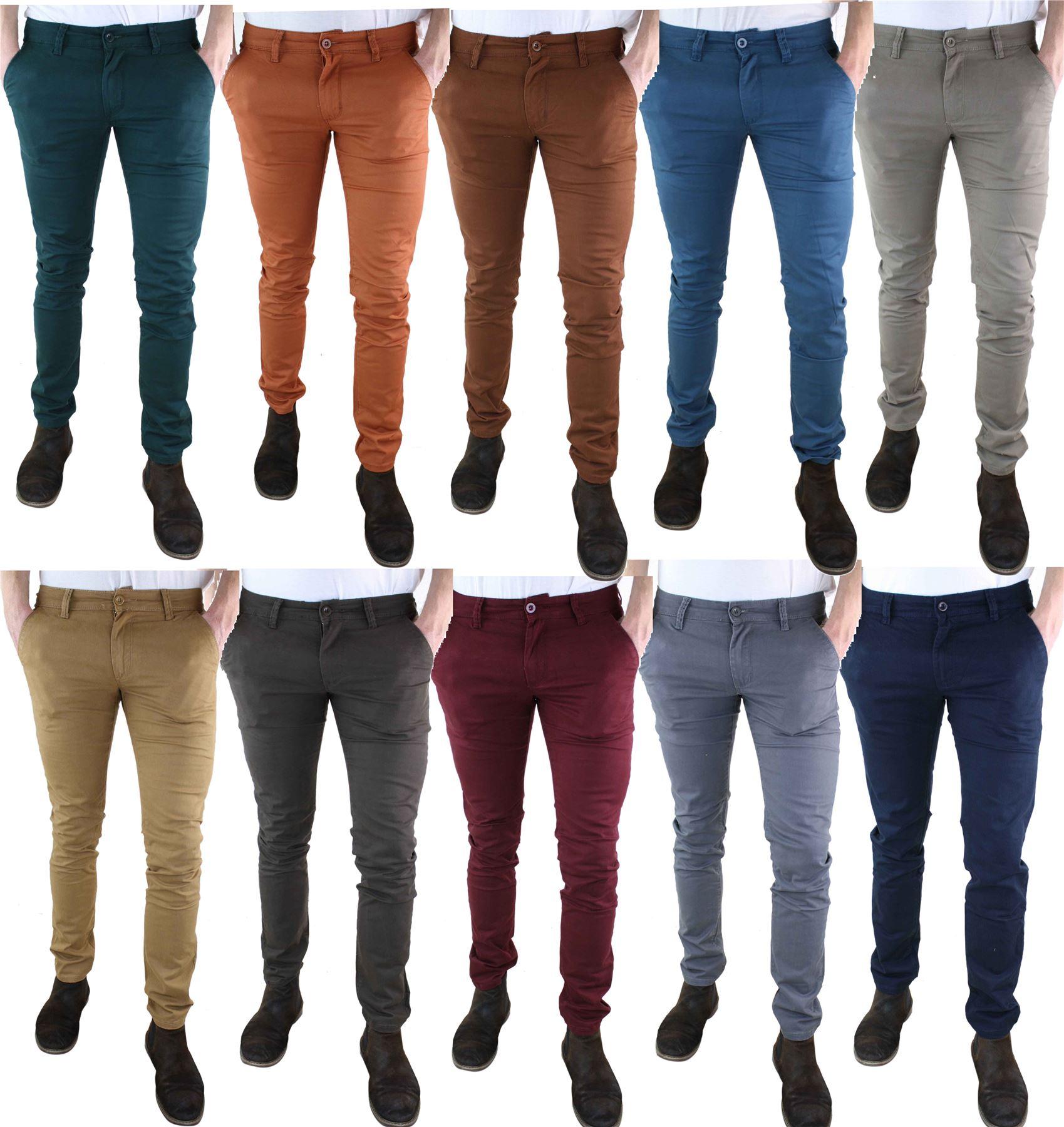 baa35358b755e Pantalon toile chino homme coton stretch coupe slim skinny ...