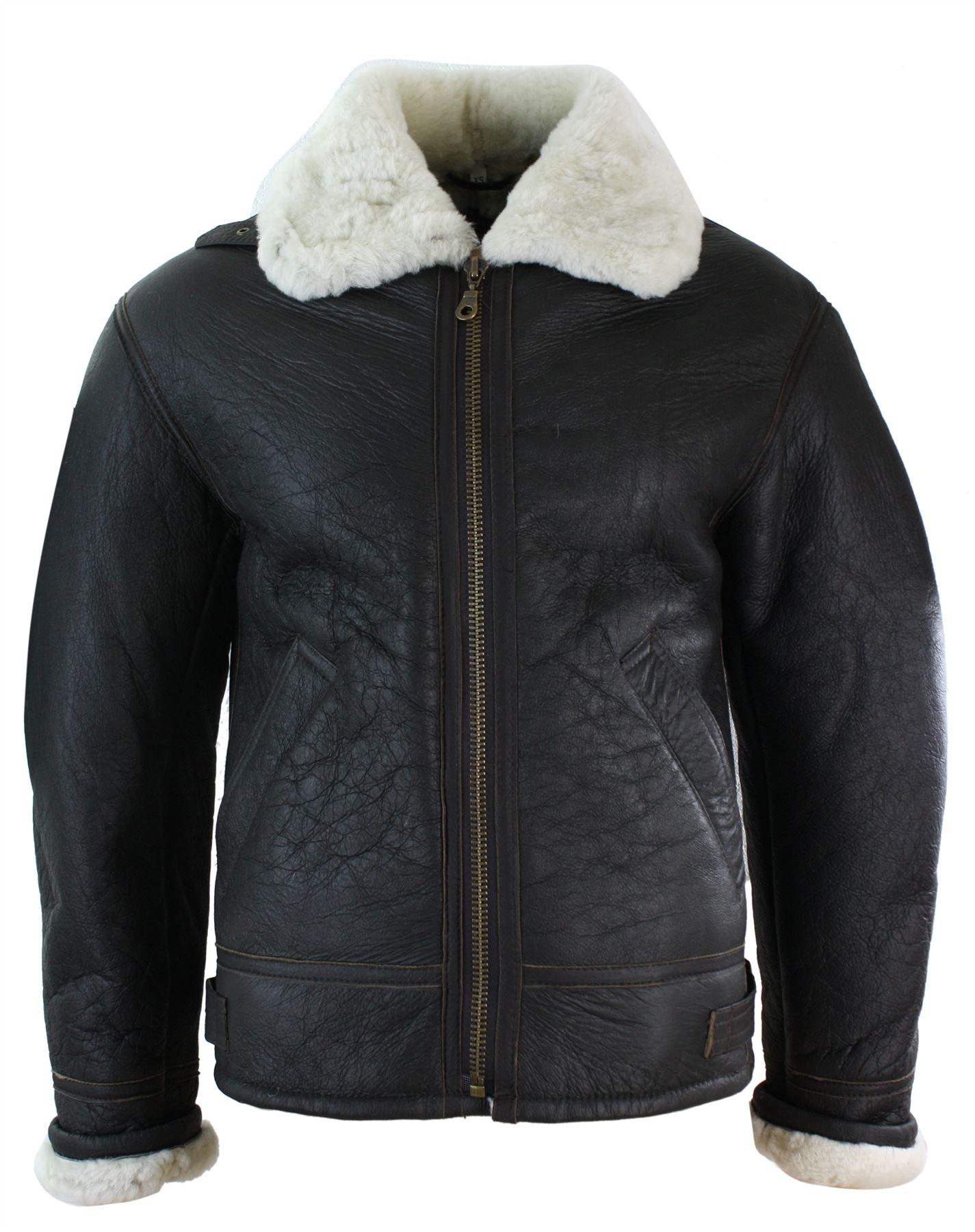 manteau chaud homme peau de mouton retourn e v ritable mod le b3 original ebay. Black Bedroom Furniture Sets. Home Design Ideas